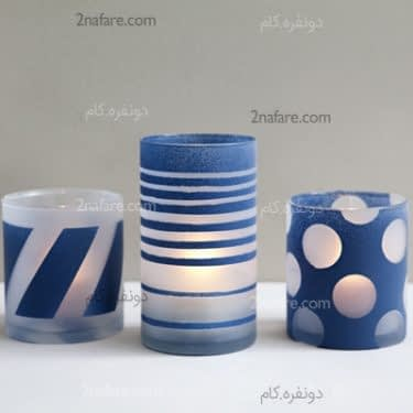 ساخت جاشمعی با طراحی و رنگ آمیزی شیشه های دورریز