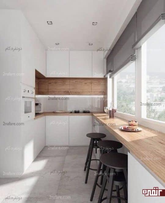طراحی آشپزخانه به سبک مینیمال با نور کافی