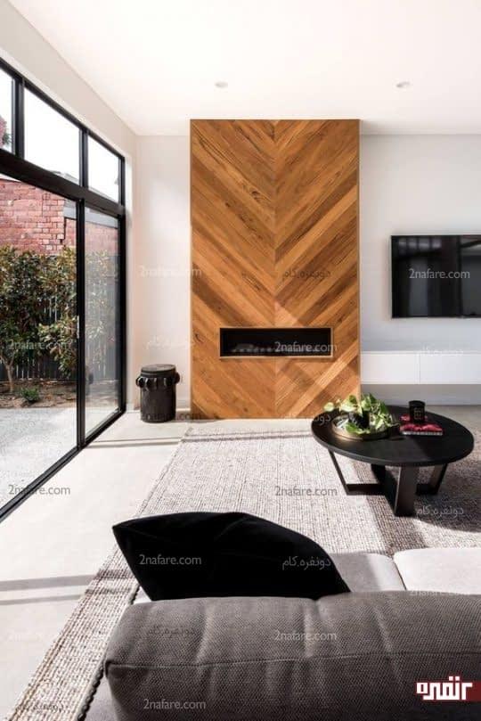 طراحی دیوار پشت شومینه با چوب