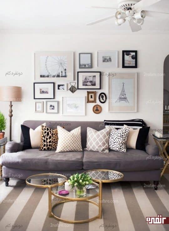 نشیمن جذاب با تزیین گالری دیواری