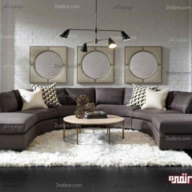 نشیمن مدرن و جذاب با کاناپه منحنی فرم