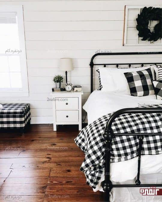 کاربرد پارچه چهارخونه در اتاق خواب