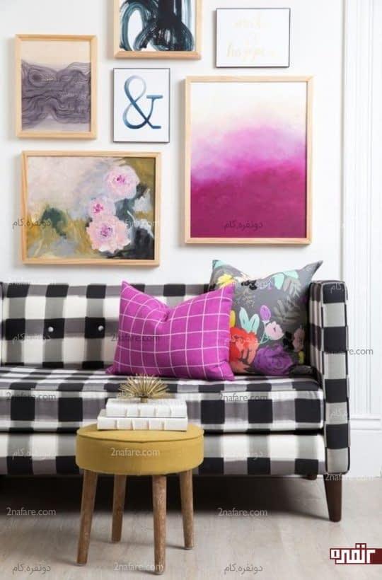 کاناپه با روکش چهارخونه