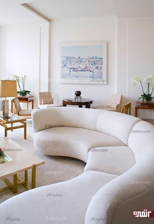 کاناپه های سفید و شیک منحنی فرم