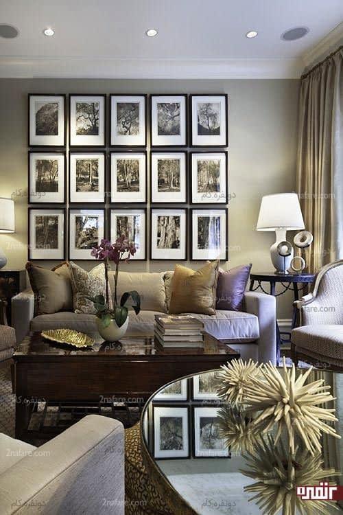 گالری دیواری با عکسهای هم سایز