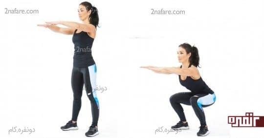ورزش اسکات برای تقویت ماهیچه های چهارسر ران و همسترینگ