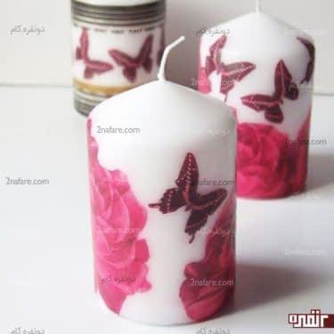 آموزش تزیین شمع با طرح های دستمال کاغذی