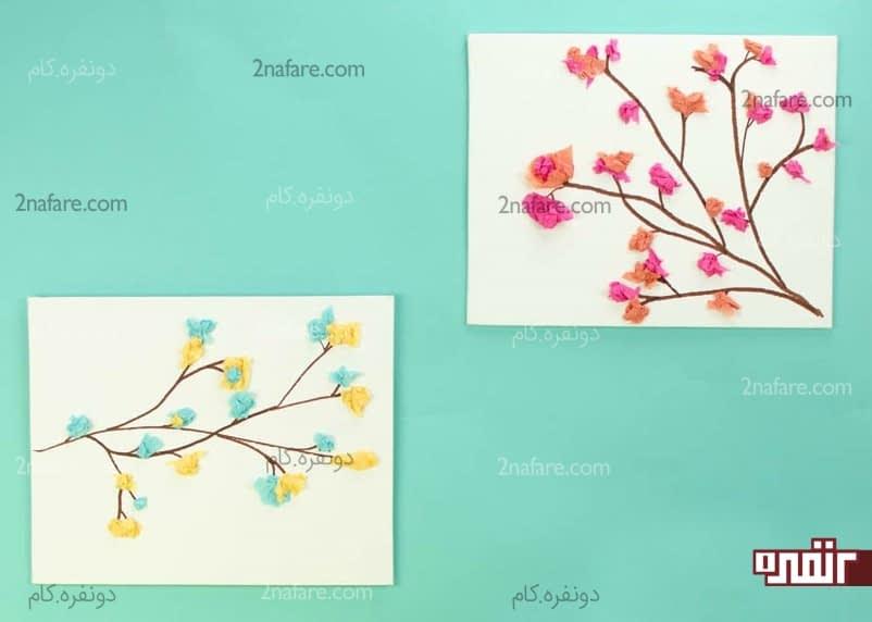 ساخت تابلو شکوفه های پارچه ای مرحله به مرحله