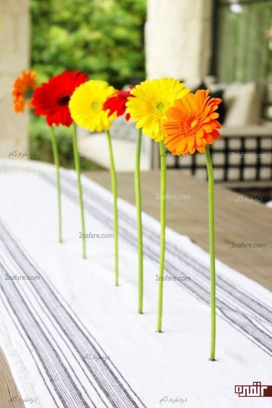 یک ایده ی جالب برای تزیین میز با گلهای طبیعی