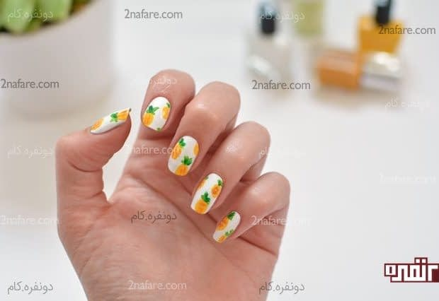 آموزش طراحی ناخن با طرح آناناس
