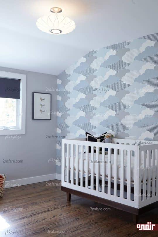 ابرهای زیبا با رنگ های مختلف در طرح کاغذ دیواری