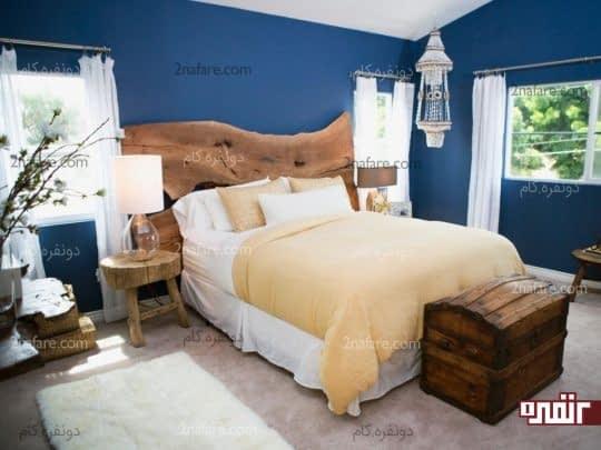 اتاق به سبک روستایی با رنگ آبی