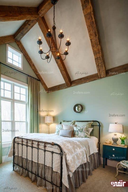 اتاق خوابی آرام و زیبا با رنگ سبز پاستلی