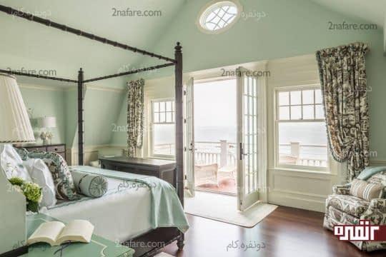 اتاق خواب با ترکیب رنگ سفید و سبز نعنایی