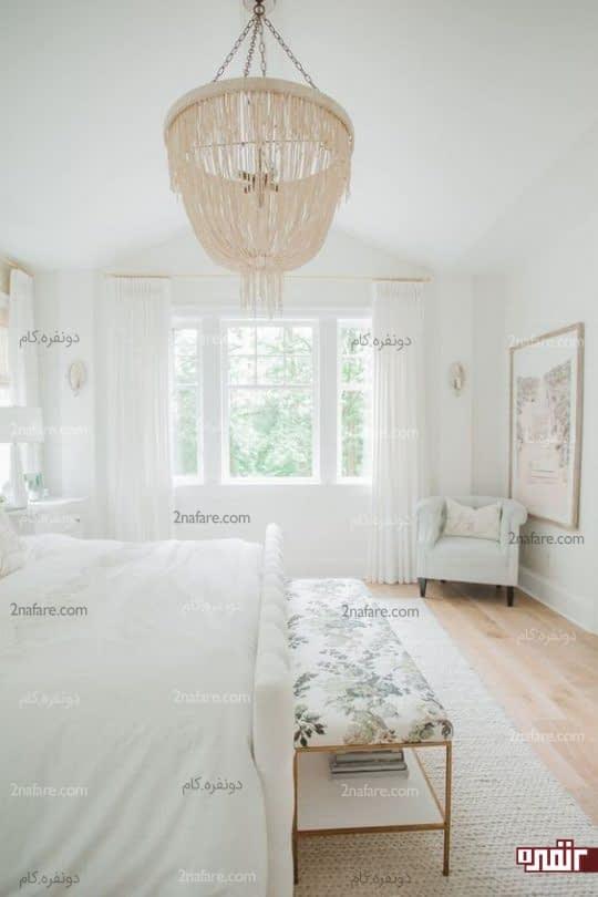 اتاق خواب سفید و روشن و دلباز