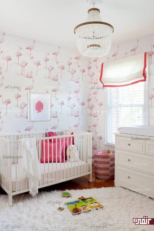 اتاق دخترونه ی صورتی با کاغذ دیواری طرح فلامینگو