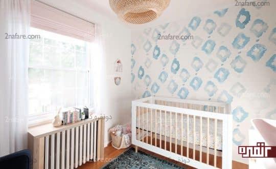 اتاق کودک با کاغذ دیواری آبرنگی