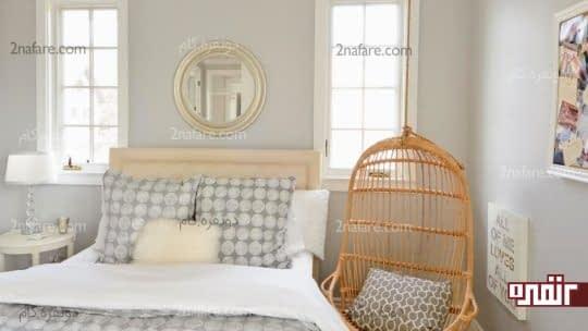 ترکیب تناژهای مختلف رنگ خاکستری در اتاق خواب