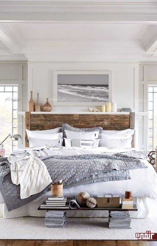 ترکیب رنگ های خنثی خاکستری و سفید در دکوراسیون اتاق خواب