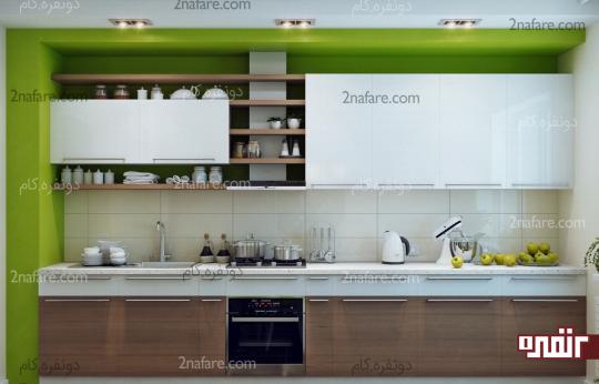 ترکیب زیبای سبز با سفید و رنگ چوب کابینتها