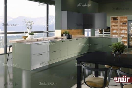 ترکیب کابینت های سبز و خاکستری