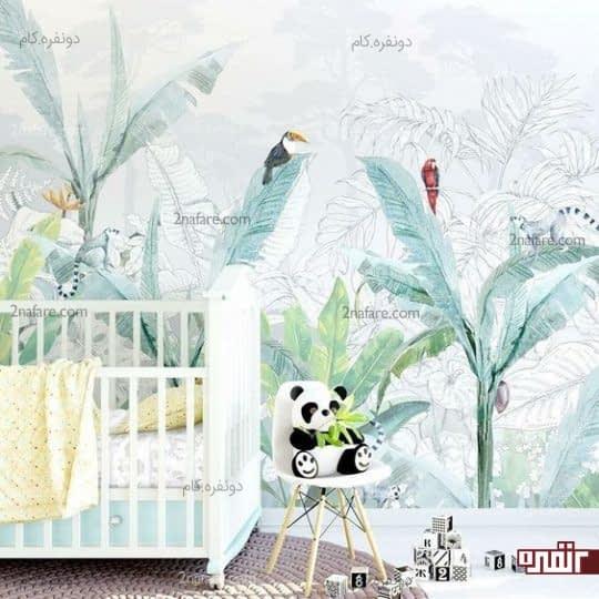 تزیین دیوار اتاق کودک با طرح درختان گرمسیری و استفاده از عروسک پاندا