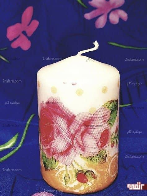 تزیین شمع با دستمال کاغذی