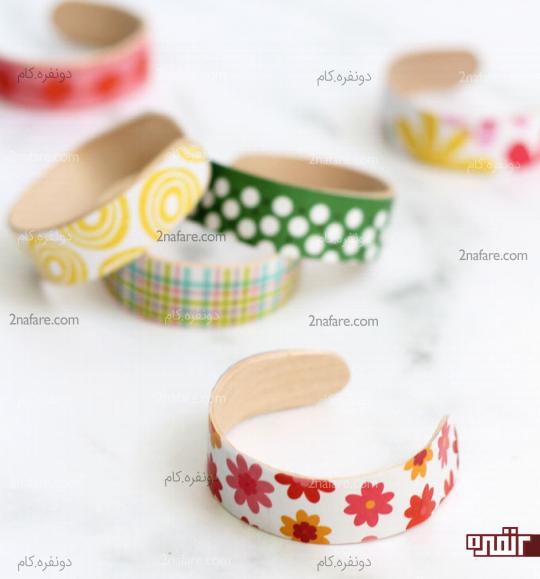 دستبندهای چوبی رنگارنگ و کودکانه