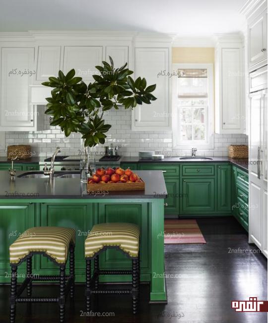 رنگ سبز برای کابینتهای کف آشپزخانه