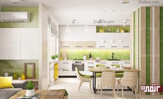 رنگ سبز در آشپزخانه های مدرن