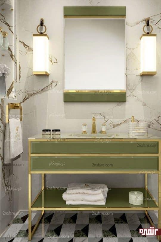 روشویی شیک با ترکیب رنگ سبز و طلایی و سنگ مرمر