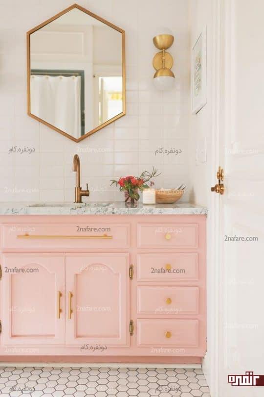 روشویی فوق العاده جذاب با ترکیب رنگهای سفید، صورتی و طلایی