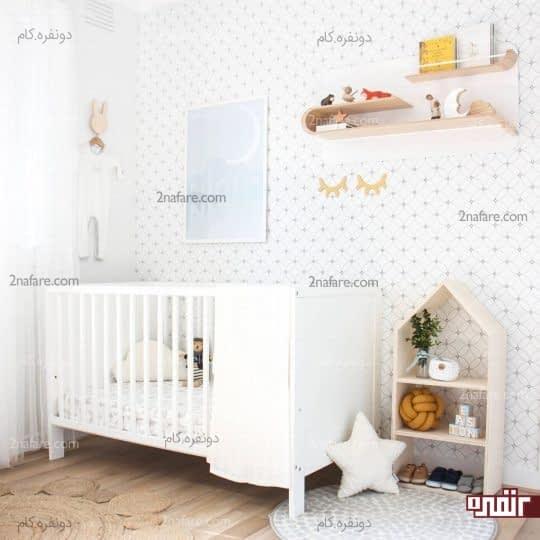 زمینه ی سفید کاغذ دیواری اتاق کودک و طرح های هندسی