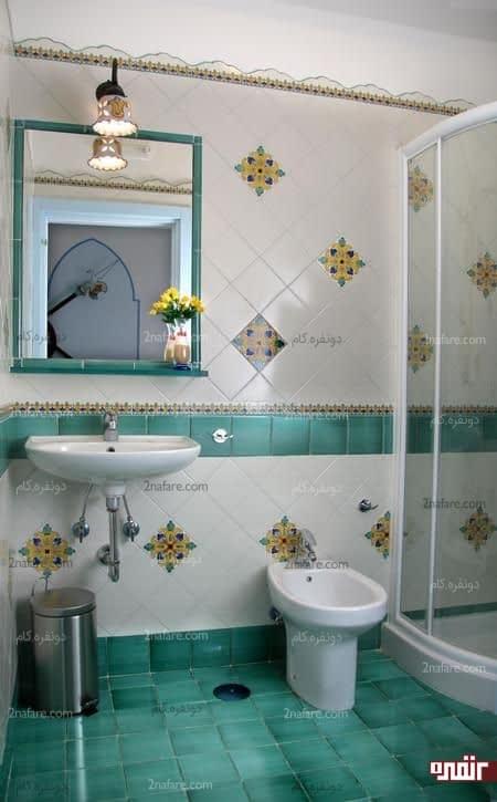 طراحی سنتی و خوش رنگ سرویس بهداشتی