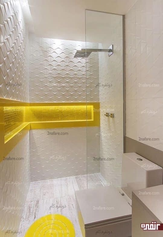 طراحی مدرن حمام با رنگ زرد و نورپردازی