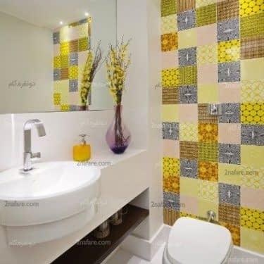 طراحی یک دیوار با کاشی های رنگی