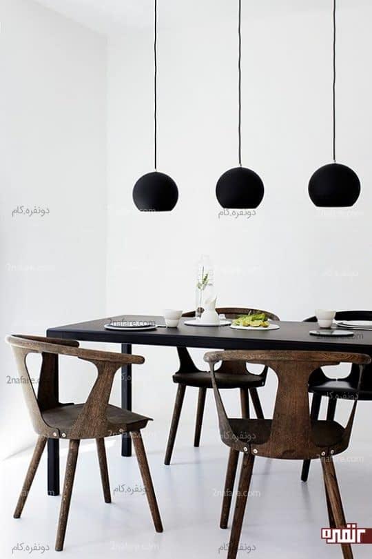 غذاخوری مینیمال با لامپ کاسه ای سیاه