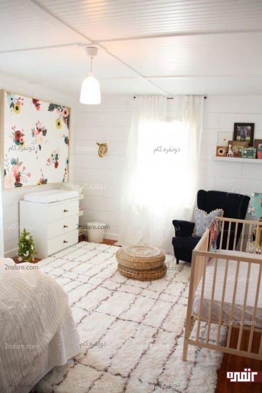 قرارگیری تخت و کمد نوزاد در اتاق خواب های بزرگ