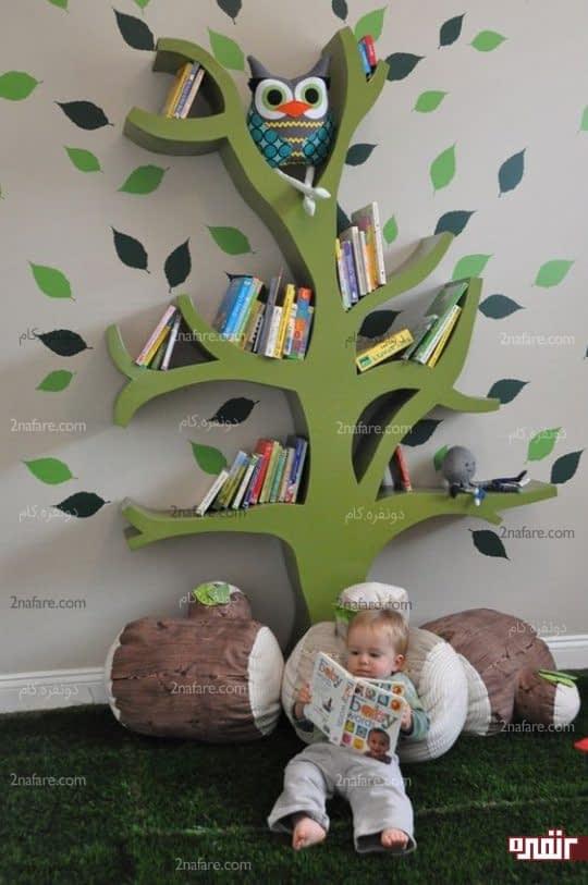 قفسه کتاب درختی اتاق کودک