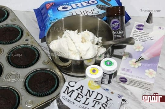مواد لازم برای تزیین کاپ کیک به شکل گل آفتابگردان