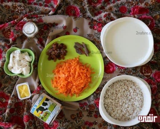 مواد لازم برای تهیه شیربرنج مکزیکی