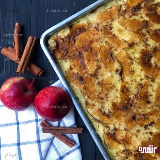 پنکیک سیب و دارچین داخل فر