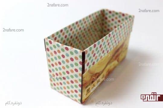 چسباندن کاغذ در اطراف جعبه