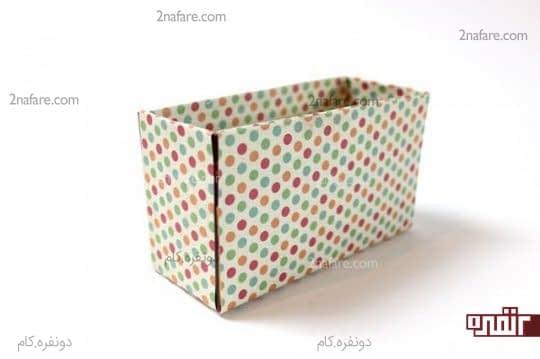 چسباندن کاغذ در قسمت جلو و پشت جعبه