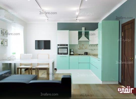 کابینتهای مدرن با سبز پاستیلی