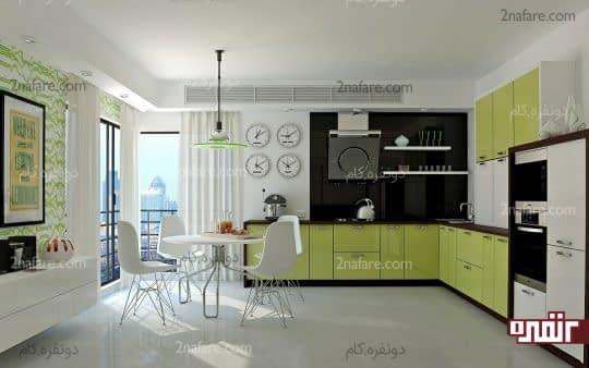 کابینت های سبزرنگ و مدرن