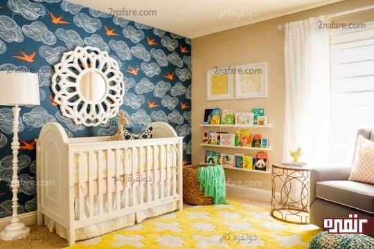کاغذ دیواری با زمینه ی آبی و پرنده های نارنجی