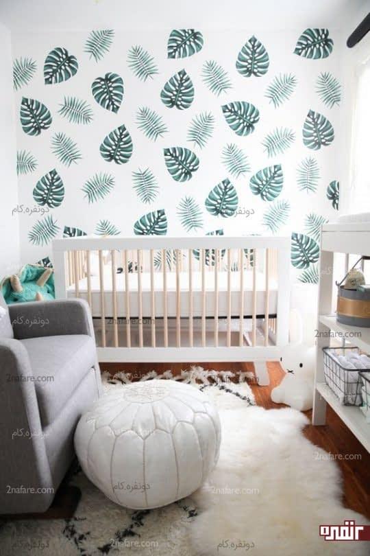کاغذ دیواری با طرح برگ های گرمسیری برای تزیین اتاق بچه ها