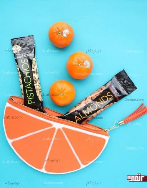 کیف دستی نمدی پرتقالی