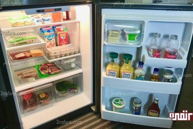 یخچالی مرتب با چینش صحیح مواد غذایی